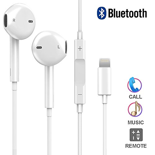 Red bluetooth earphones with microphone - apple earphones with lightning cable