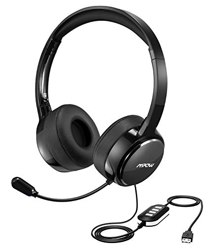mpow upgraded usb headset with jack lightweight computer headset with noise cancelling. Black Bedroom Furniture Sets. Home Design Ideas